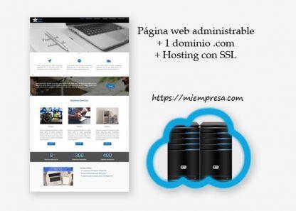 paquete de página web administrable + dominio + hosting