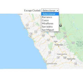 varios mapas Google Maps con menú desplegable